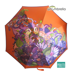 Hand painted Umbrella/ Abstract/ Violet flowers