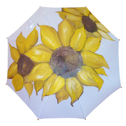 Hand Painted Umbrella with Sunflowers