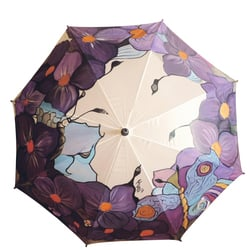 Hand Painted Umbrella with Abstract Violets