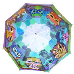 Hand Painted colorfull Umbrella with Owls