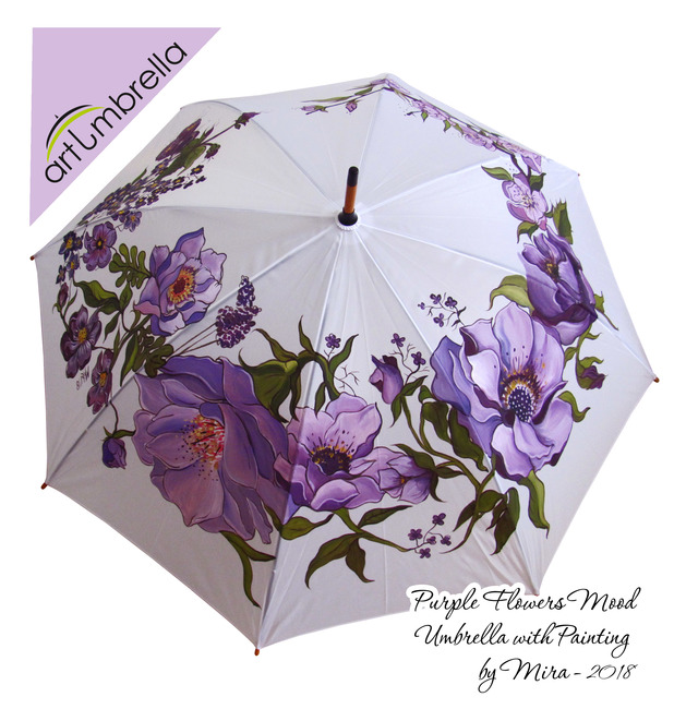Violet Flowers - hand painted Umbrella
