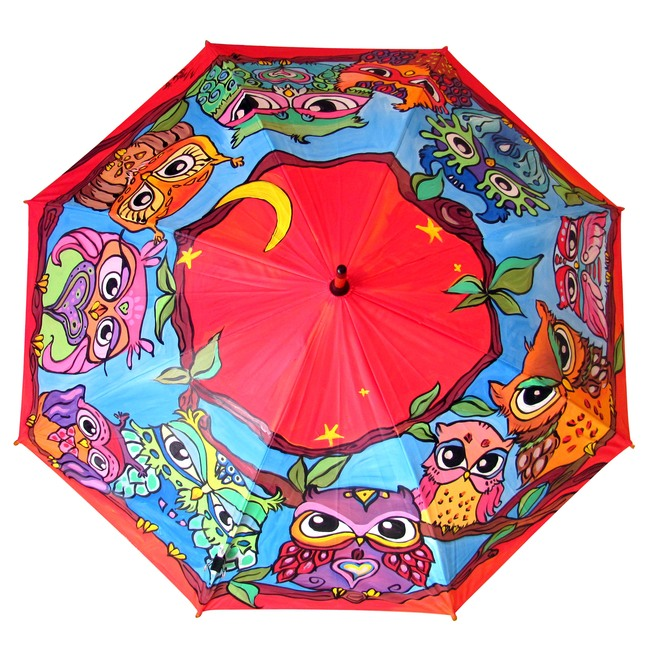 Hand Painted Umbrella in red color with Owls