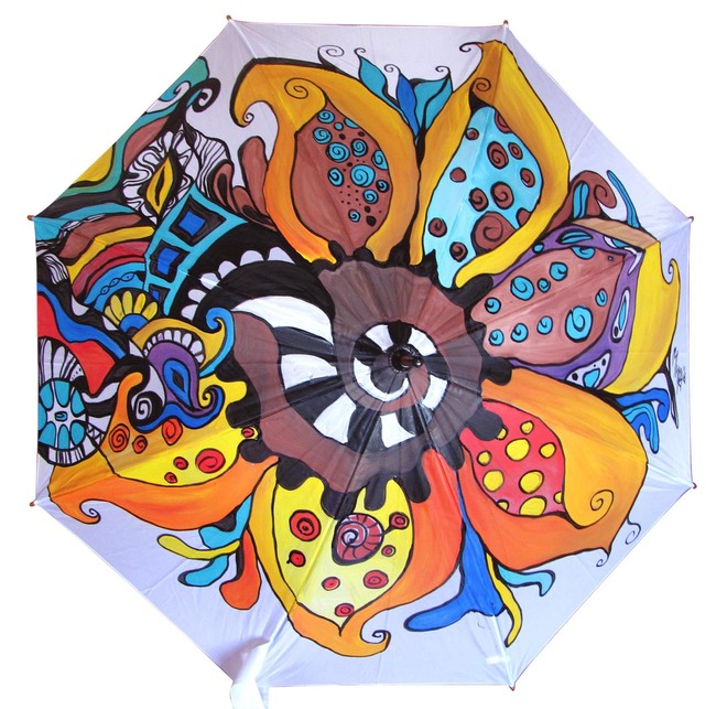Hand Painted colorfull Umbrella with Abstract Flowers