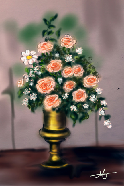Vase with roses-1