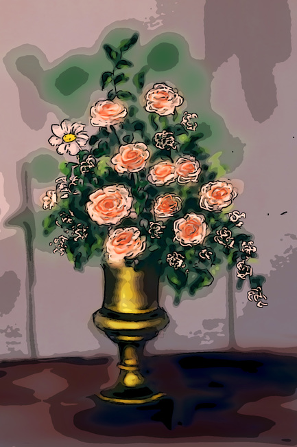 Vase with  roses-3