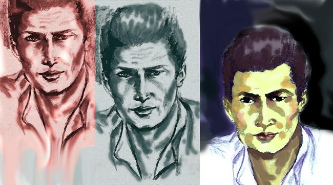 Three versions of a man's portrait