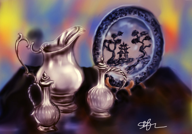 Silverware and decorating plate