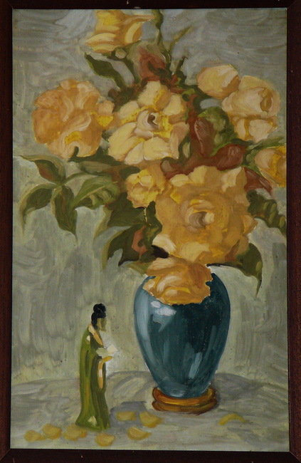 Flowers and statuette