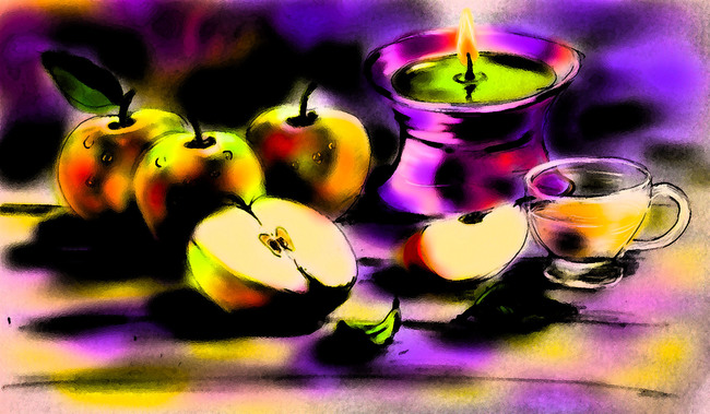 Red apples and tea (version 2)