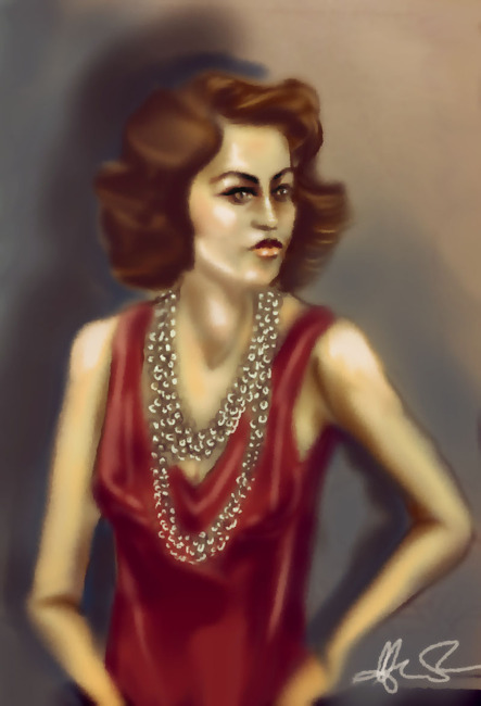 Lady with pearls
