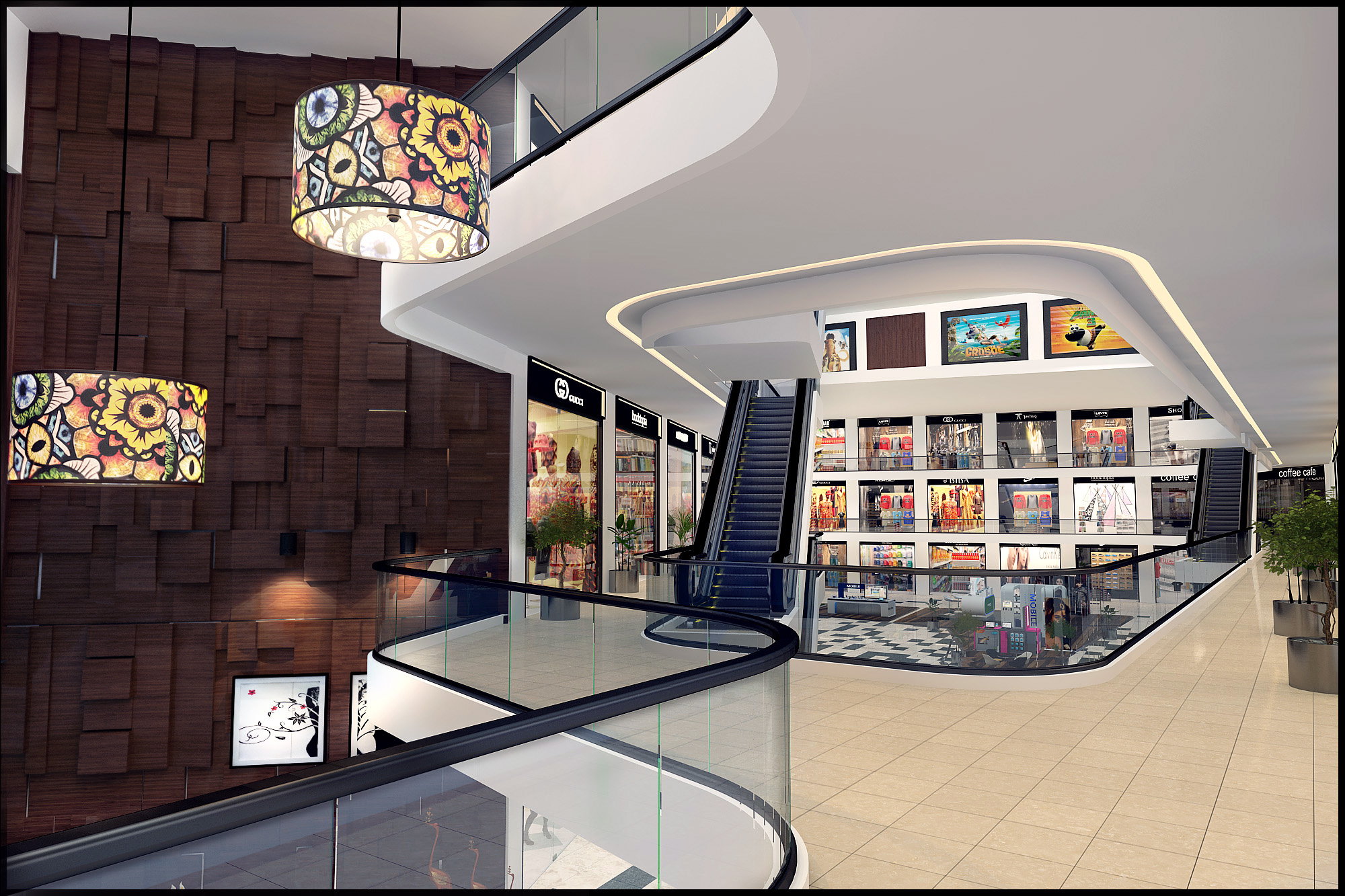 Interior Design Rendering For Commercial Shopping Mall