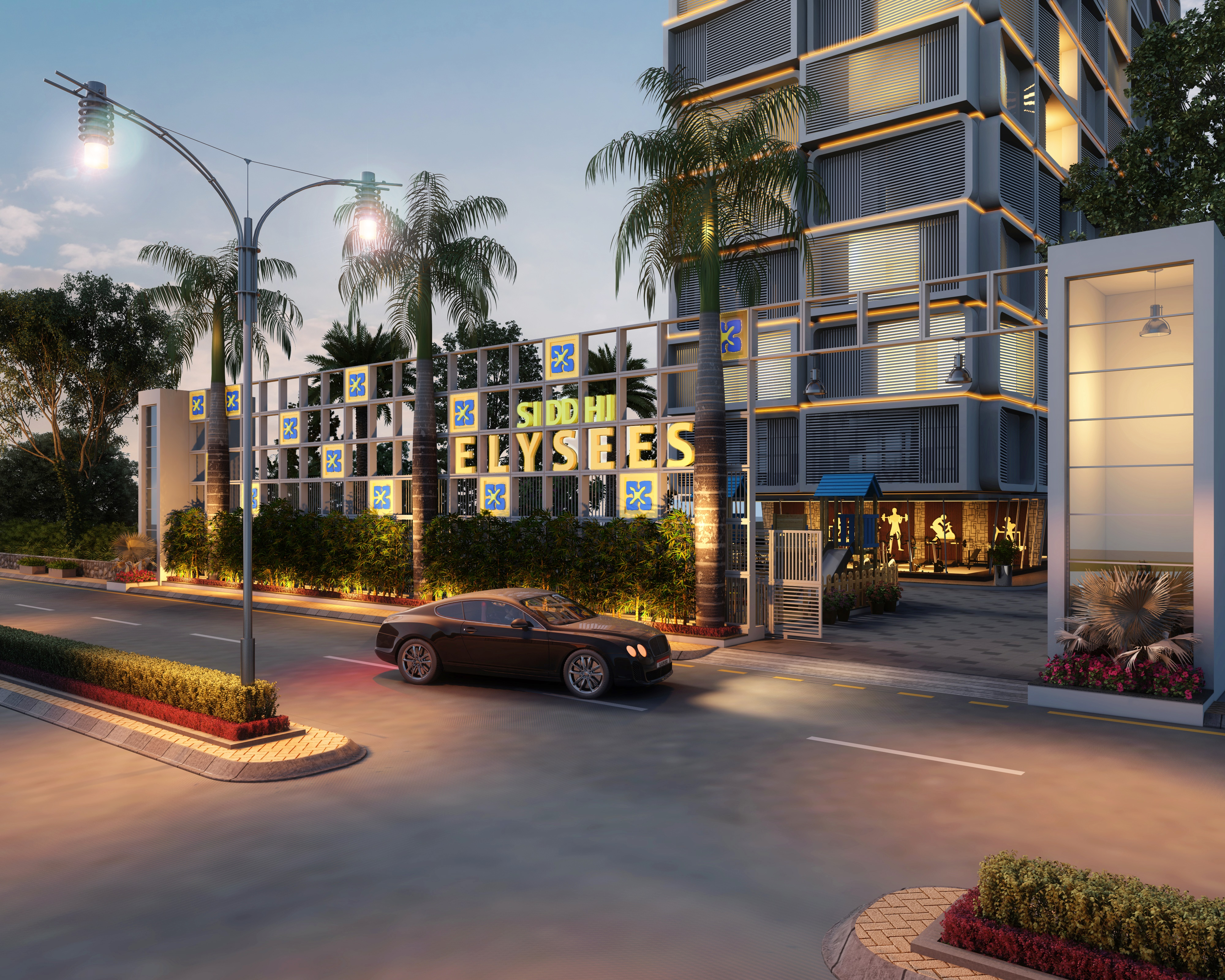 3d Night View Commercial Exterior Design Rendering