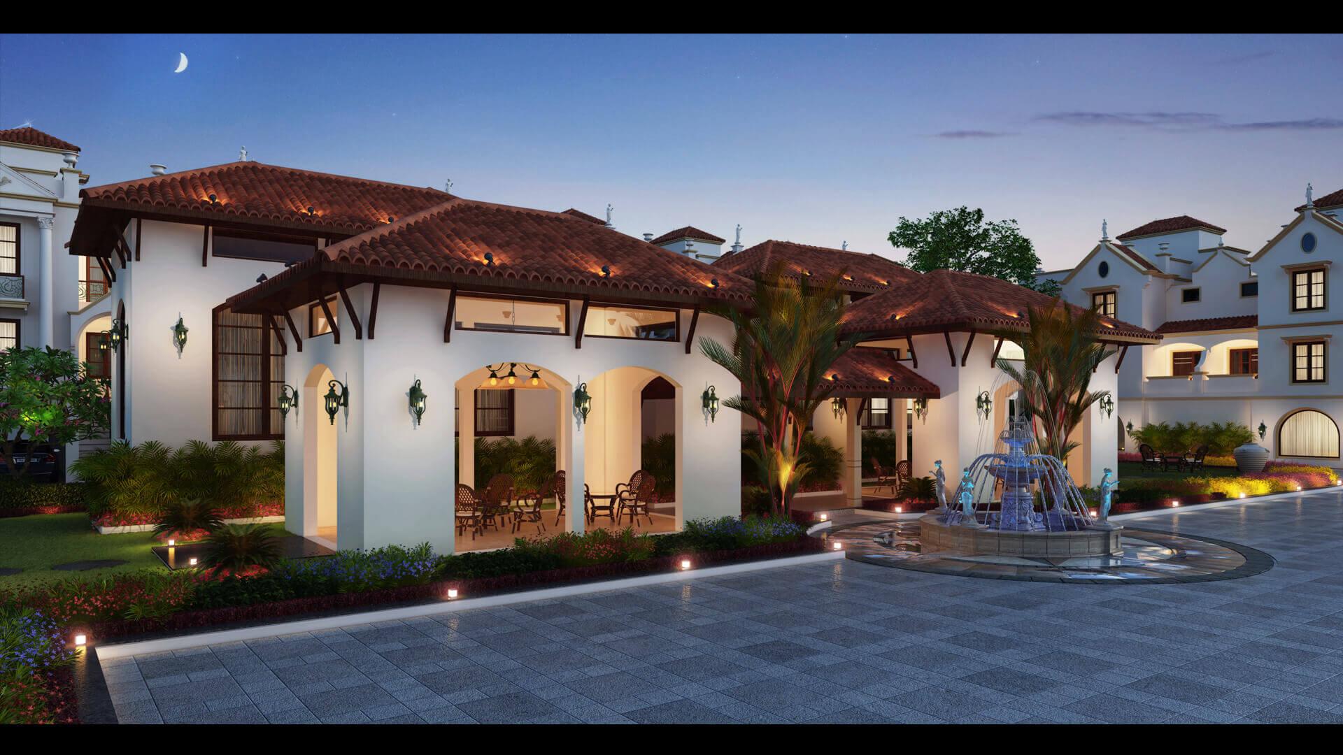 3d House Exterior Night View Design