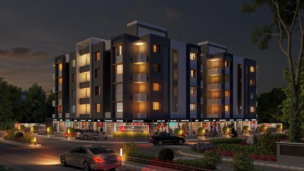 Condo Apartment Night View Exterior Design
