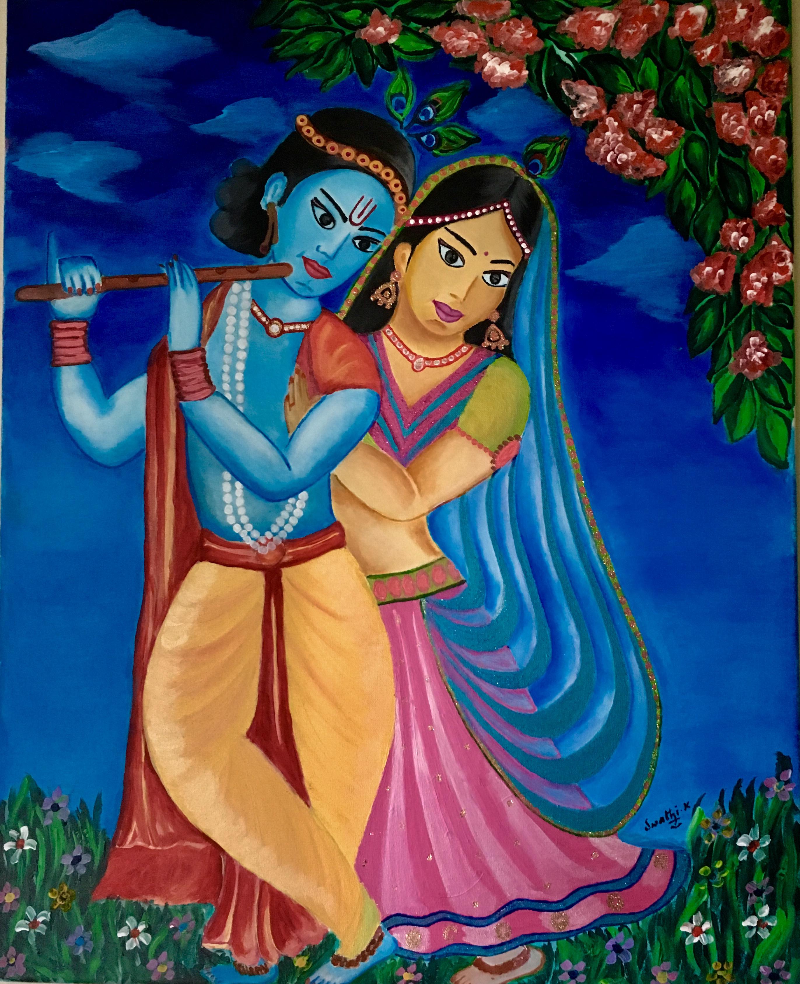 Radha Krishna Acrylic Painting Print