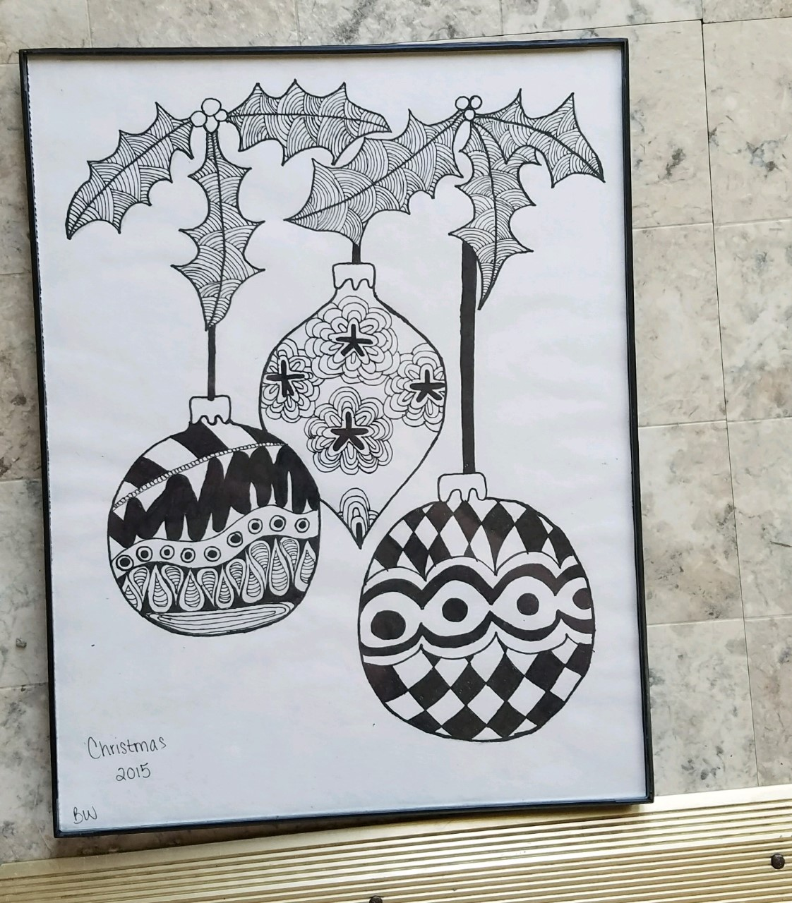Christmas Zentangle (Framed) | BrittanyW1509 | Foundmyself