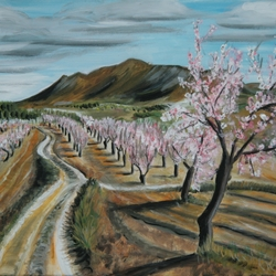 South spanish landscape with blossoms