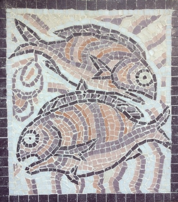 Mosaic two fishes purple
