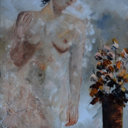 Nude with autumnal still life