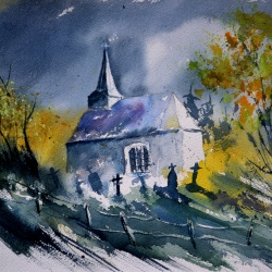 Old chapel in Houroy watercolor