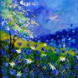 Blue wild flowers and daisies