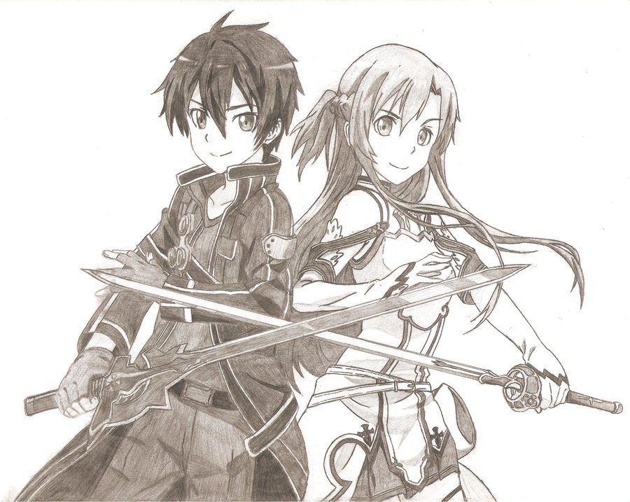 Insider Kirito And Asuna Coloring Pages Sword Art Online - Sword ... | 717x900