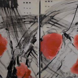 Abstract Diptych Red and Black Encaustic