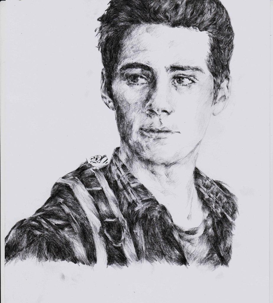 Charcoal pencil portrait of Dylan Obrien   oniskoart ...  Monochromatic Portrait Dylan Obrien