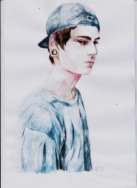 Watercolor portrait of a model Christopher Mccrory