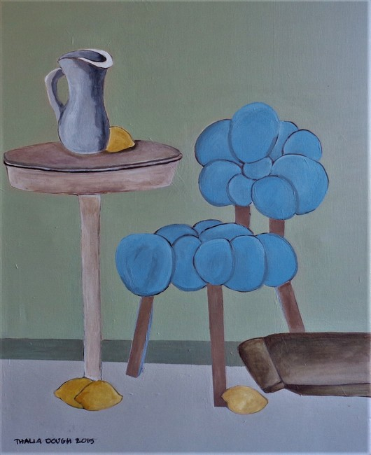 Blue Bubble Chair, Water Pitcher, Lemons, Table As Unifying