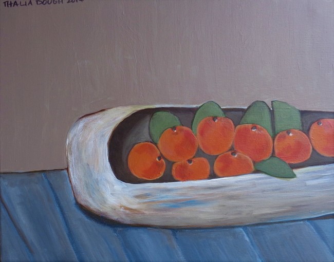 White Square Wooden Dough Trough With Tangerines For Healing