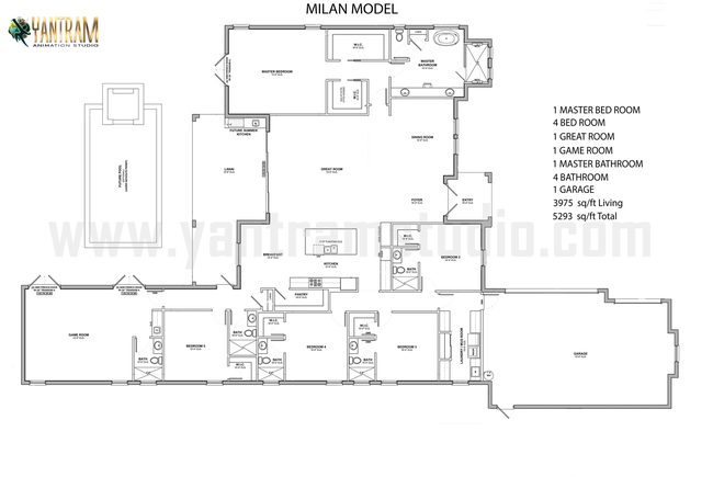 2D Floor Plan Development by Yantram Architectural Design St